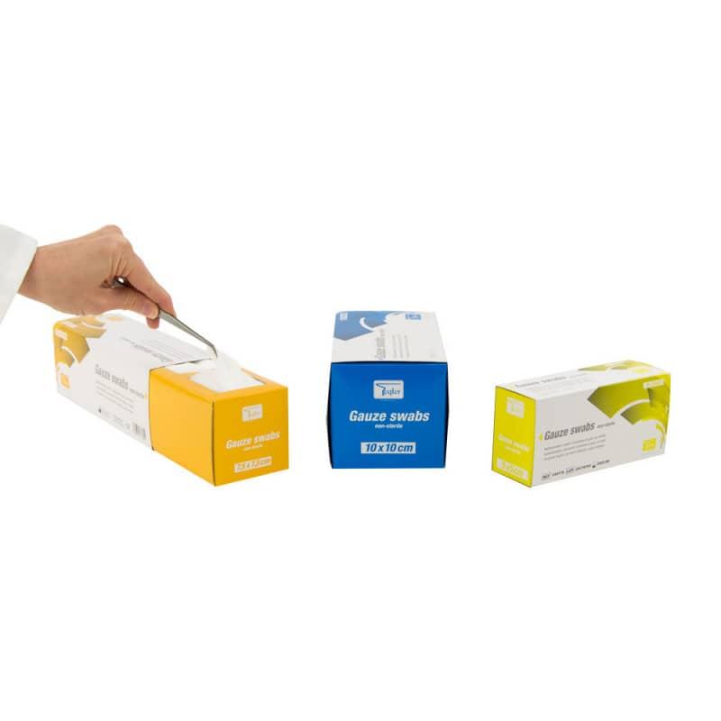Die Teqler Mullkompressen sind in drei verschiedenen Größen erhältlich