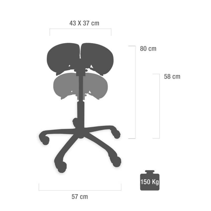 Dimensions et possibilités de réglage du tabouret de selle en un coup d'œil