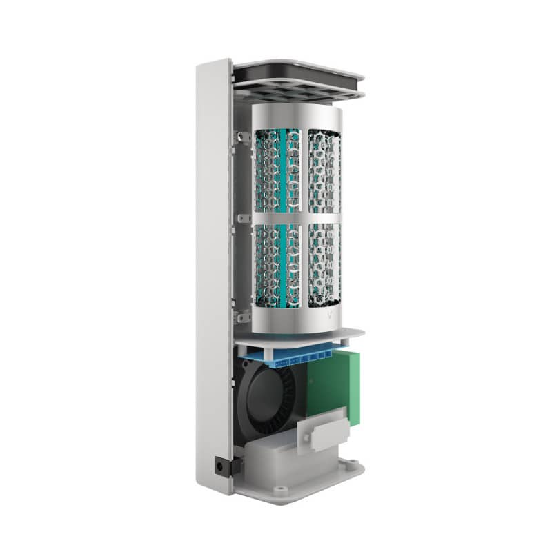 Cellule de réacteur interchangeable avec lampe UV-C et 9 TiO₂ filtres hexagonaux