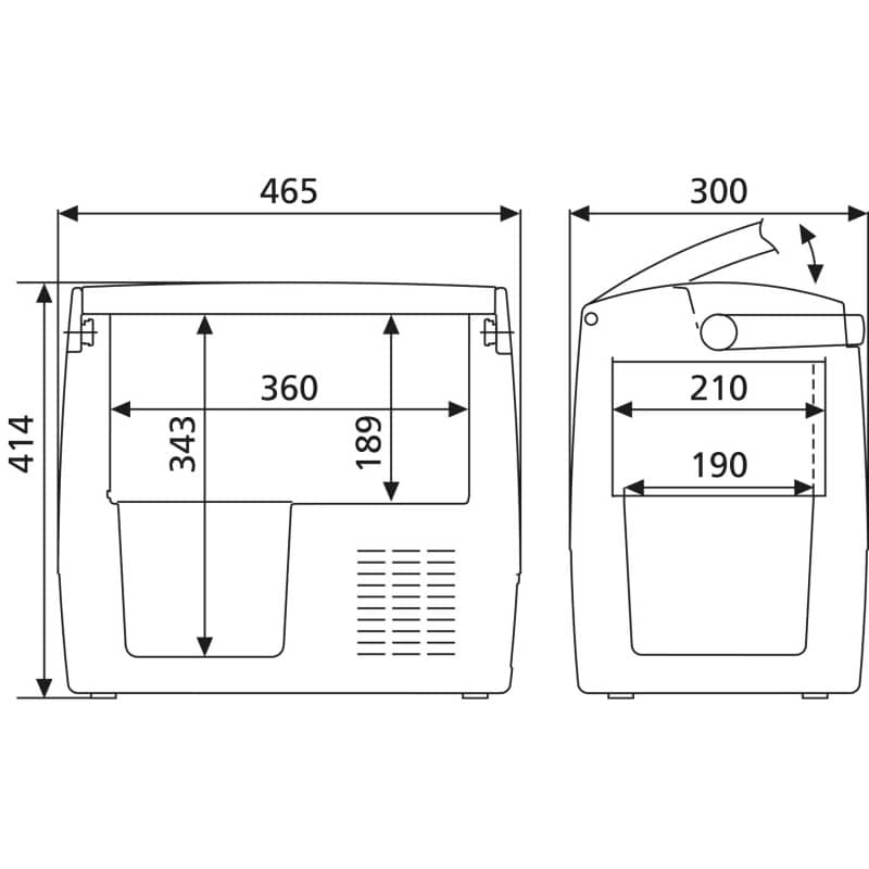 The dimensions of the CDF 18 cooler from Dometic at a glance