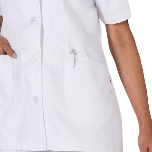 Womens scrub tunic with button tab