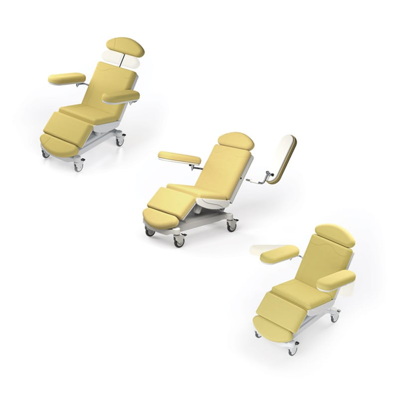 Swivelable and removable armrests, height-adjustable headrest