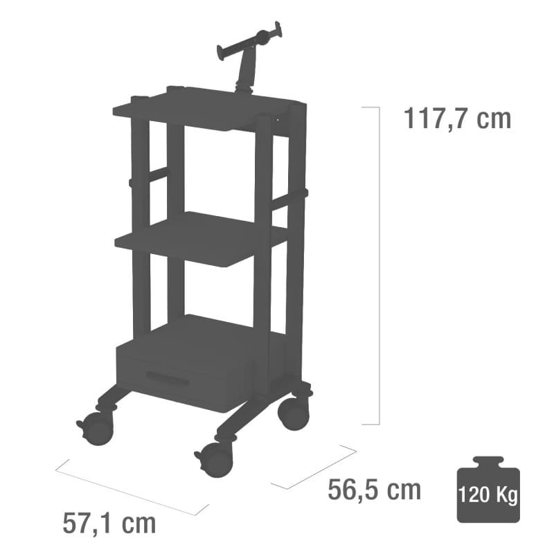 The dimensions of the Doppio Tablet/iPad trolley at a glance