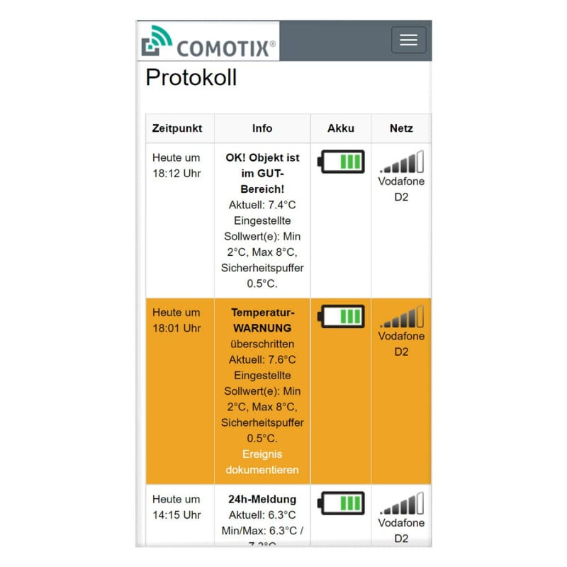 Logs can also be viewed on the go via the free COMOTIX® app