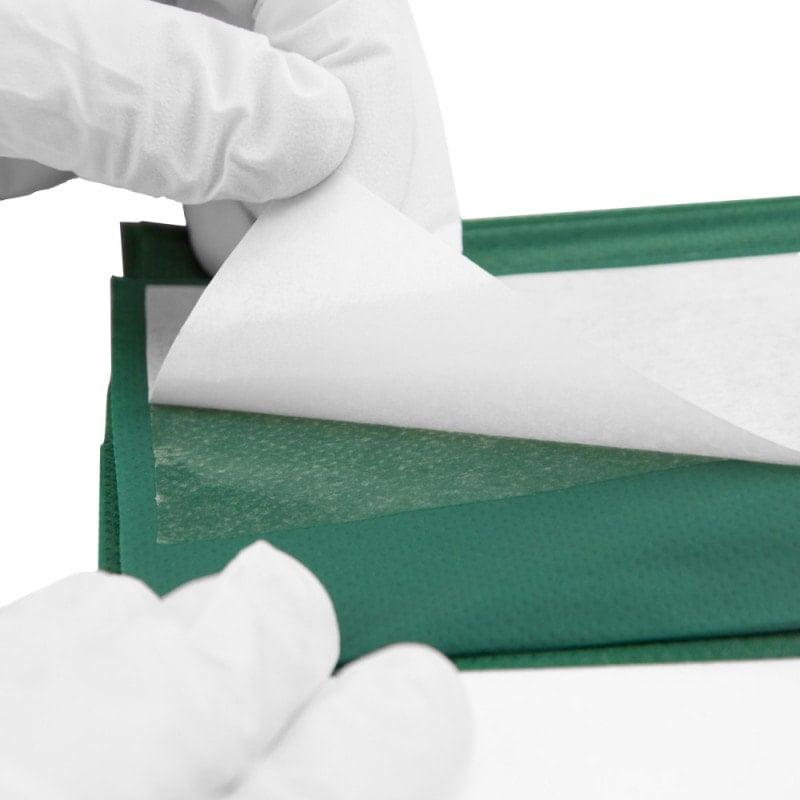 Abziehhilfe ermöglicht das Abziehen der Folie auch mit behandschuhten Händen