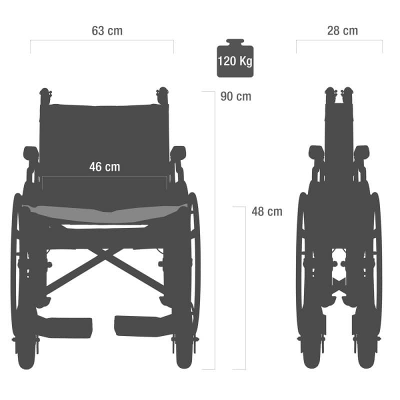 Der Rollstuhl lässt sich auf etwa die Hälfte seiner Breite zusammenfalten