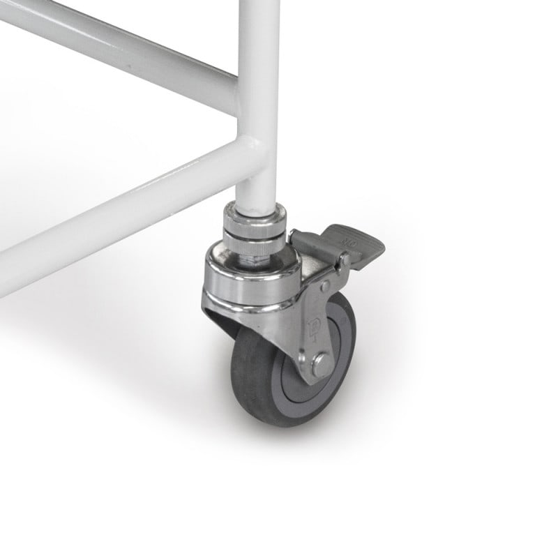 Both back castors are equipped with lockable brake