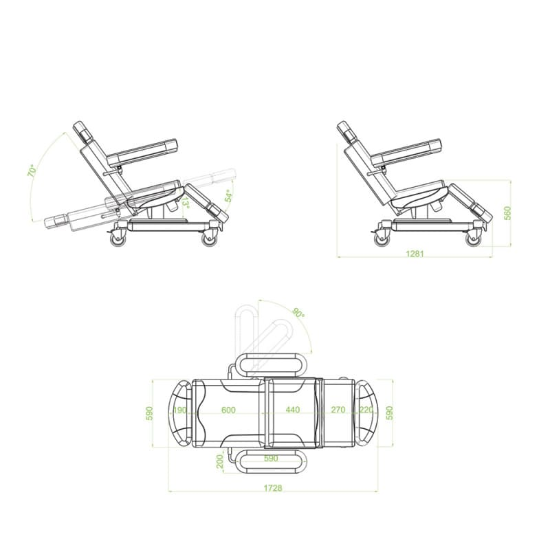 With 2 motors for setting back and seat positions