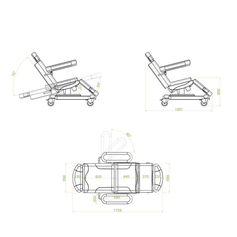 Met 2 motoren voor de hoogteverstelling en aanpassing van de rugleuning en zitting