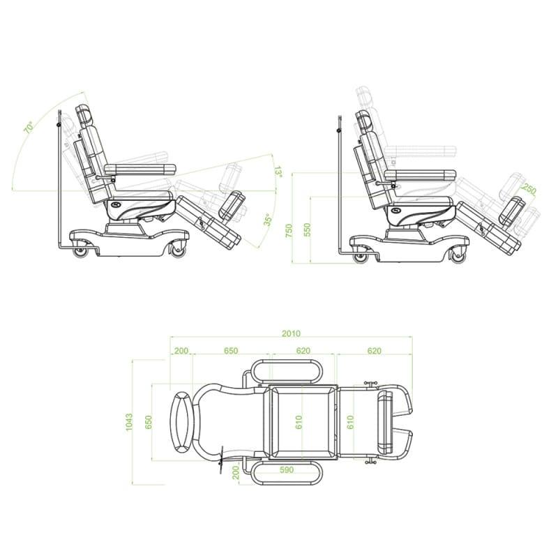 Dimensiones del sillón de tratamiento