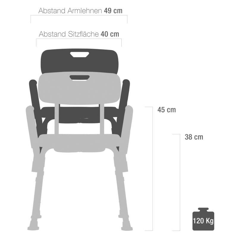 Der verstellbare Duschsitz eignet sich auch für große oder adipöse Patienten