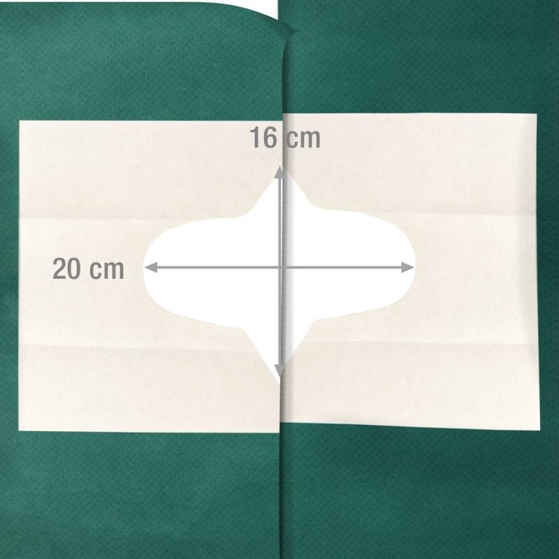 Maksymalna wielkość wycięcia (obie serwety położone obok siebie) to 16 x 20 cm lub 22 x 22 cm