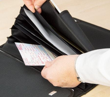Fächermappen für Dokumente auf Hausbesuchen