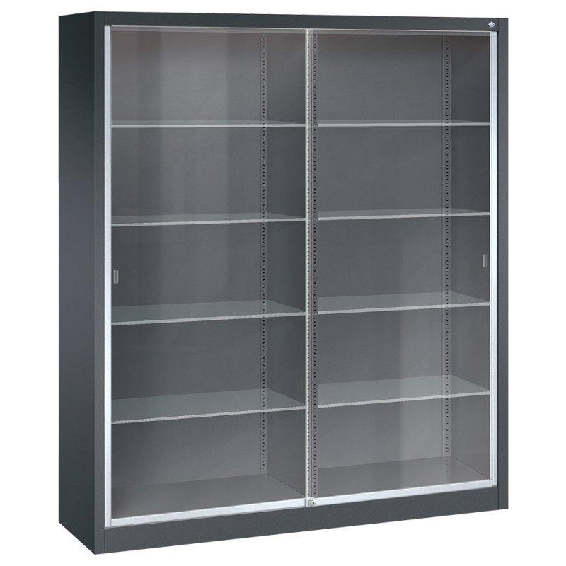 Sliding Glass Door Cabinet 120 cm, steel shelves in light grey