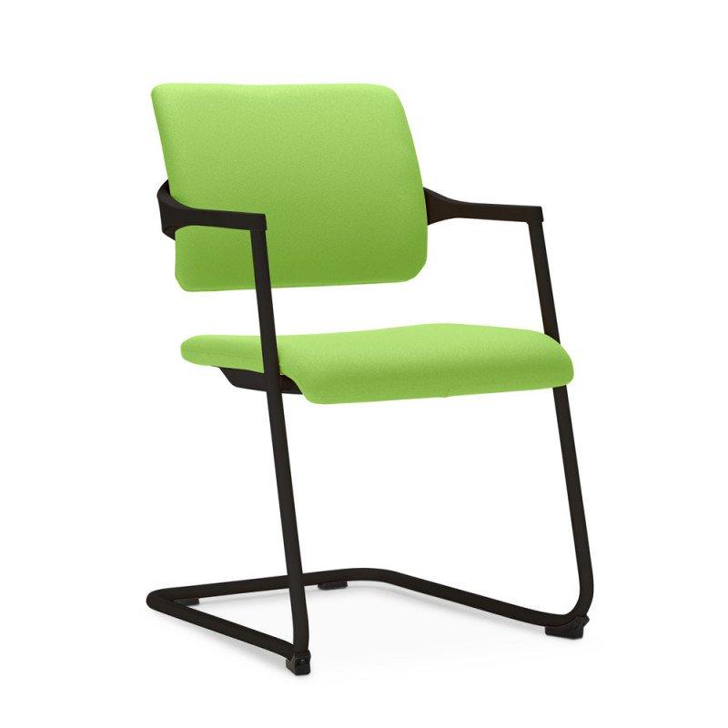 Freischwinger Stuhl in der Farbe schwarz apfel, stapelbar