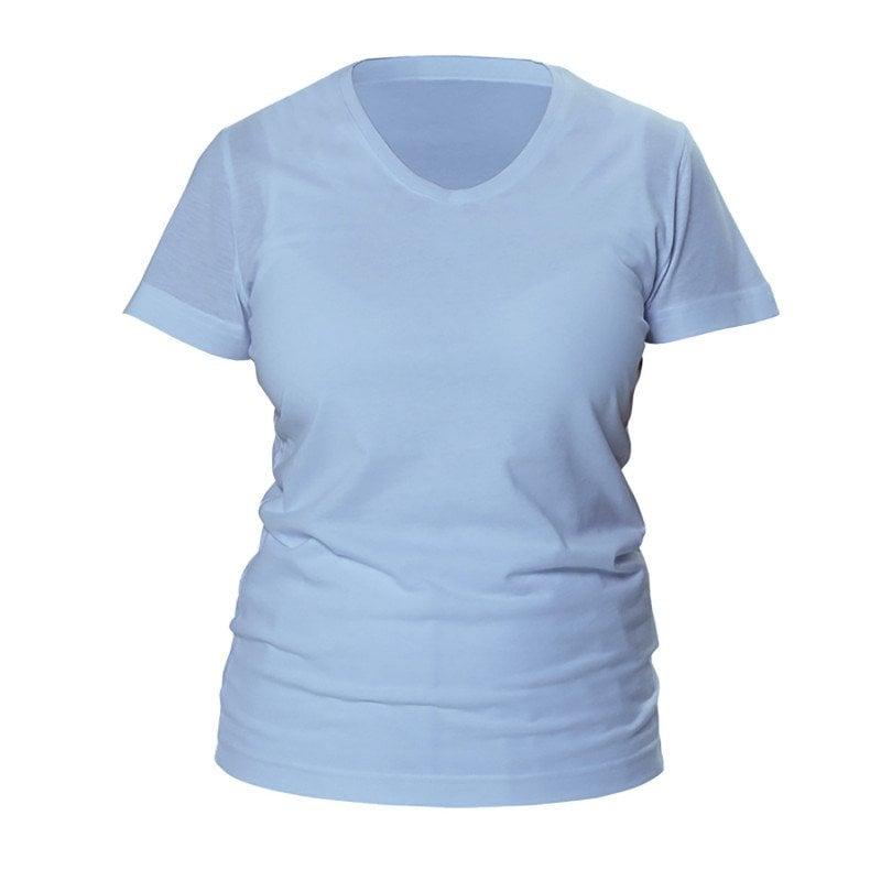 Damen-Shirt hellblau mit V-Ausschnitt in hellblau