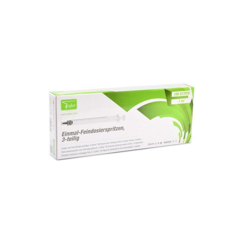 Seringue de dosage finTeqler avec une aiguille de dosage fin représentée