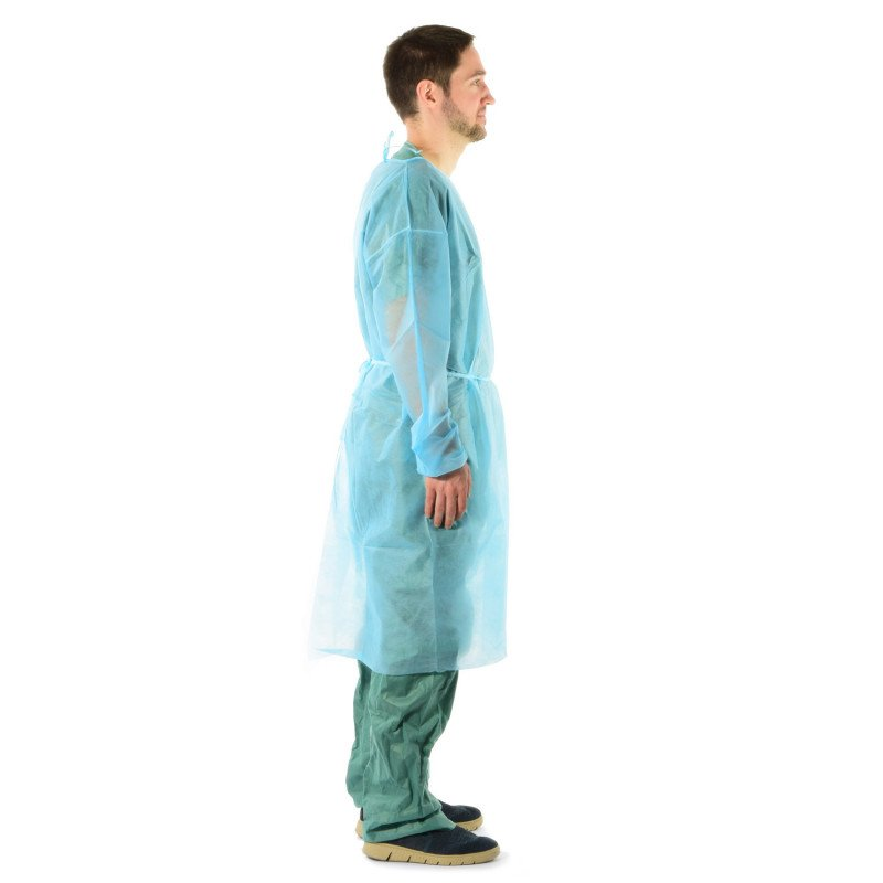 Einwegkittel aus PP-Vlies von Teqler in der Farbe blau