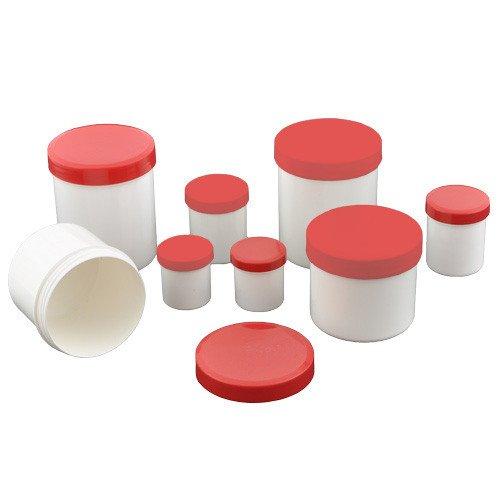 Frascos de pomada de diferentes tamaños con tapa