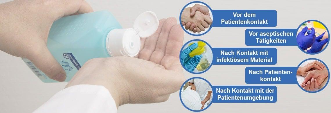 Die 5 Momente der Händedesinfektion