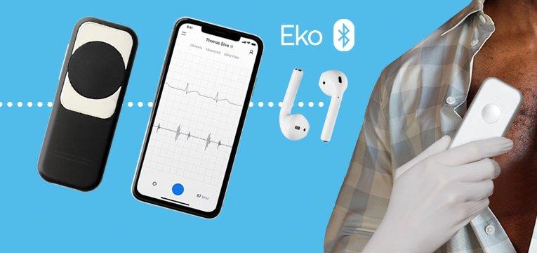 Examen seguro con Eko DUO + termómetro de infrarrojos