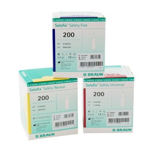 Solofix® Safety Lancets Fine, 25G, Blue