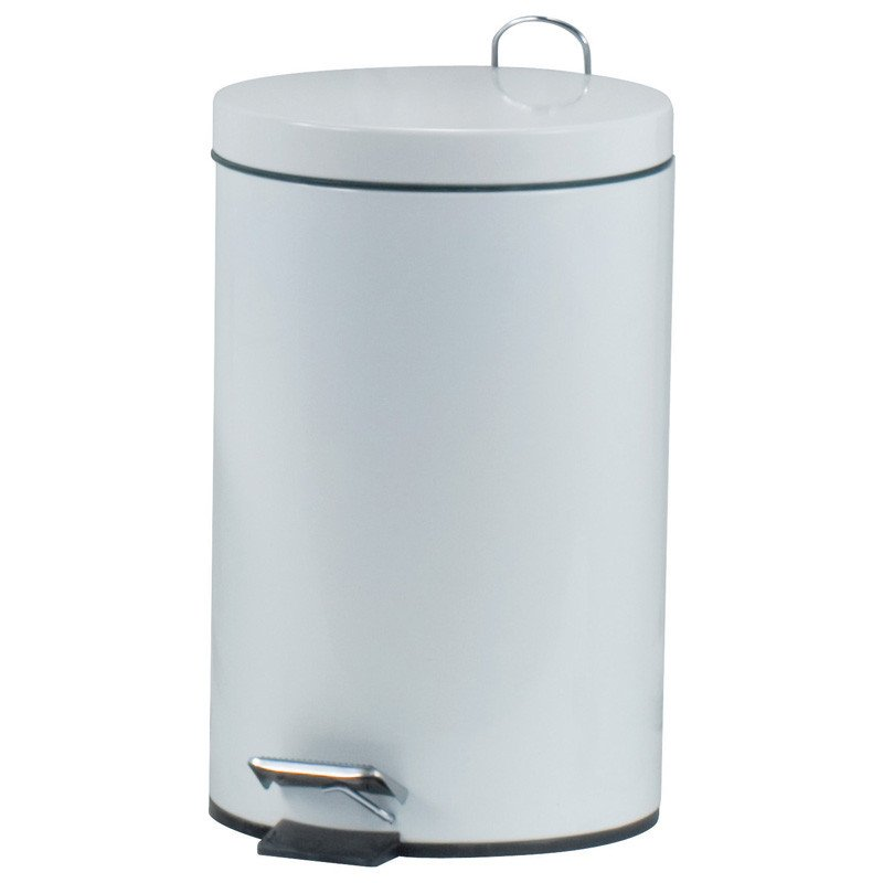 Pedal Rubbish Bin Metal, white lacquered   12 litres